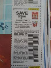 10 Coupons $1/2 Glade Products (Excludes Glade solids and Aerosol Room Spray Products 8oz) Exp.10/5/19