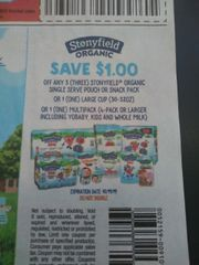 10 Coupons $1/3 Stonyfield Organic Single Serve Pouch or Snack Pack Or (1) Large Cup (30-32oz) Or (1) Multipack (4-Pack+ Including Yobaby, Kids and Whole Milk) Exp.10/19/19