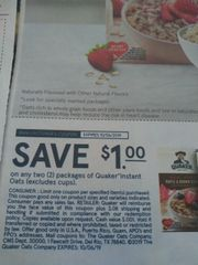10 Coupons $1/2 Quaker Instant Oats (Excludes Cups) Exp.10/6/19