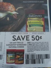 10 Coupons $.50/2 Sargento Shredded Natural Cheese Exp.10/20/19