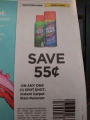10 Coupons $.55/1 Spot Shot Instant Carpet Remover Exp.12/8/19