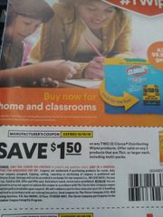 10 Coupons $1.50/2 Clorox Disinfecting Wipes Products Valid on any 2 Products that are 75ct+ Each Including Multi-Packs Exp.10/15/19