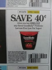 10 Coupons $.40/1 GoodBelly Probiotic Lactose-Free Low Fat Yogurt Exp.11/9/19