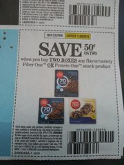 10 Coupons $.50/2 Fiber One Or Protein One Snack Product Exp.11/9/19