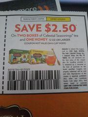 10 Coupons $2.50/2 Celestial Seasonings Tea and (1) Honey 12oz+ Exp.12/15/19