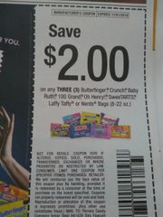 10 Coupons $2/3 Butterfinger, Crunch, Baby Ruth, 100 Grand, Oh Henry, SweeTarts, Laffy Taffy or Nerds Bags (8oz-22oz) Exp.11/1/19