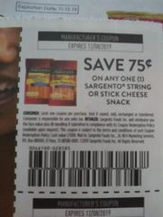 10 Coupons $.75/1 Sargento String or Stick Cheese Snack Exp.12/8/19
