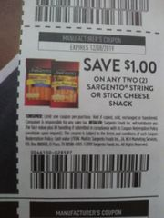 10 Coupons $1/2 Sargento String or Stick Cheese Snack Exp.12/8/19