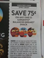 10 Coupons $.75/1 Sargento Balanced Breaks Snack Exp.12/8/19