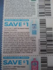 10 Coupons $1/1 Act Dry Mouth Product Exp.10/26/19