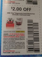 10 Coupons $2/1 Olay Regenerist Facial Moisturizer Exp.10/26/19