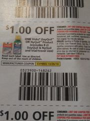 10 Coupons $1/1 Vicks DayQuil Or NyQuil Product (Excludes 8ct DayQuil & NyQuil) Exp.10/26/19