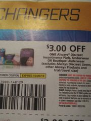 10 Coupons $3/1 Always Discreet Incontinence Pads, Underwear Or Boutique Underwear (Excludes Always Discreet Liners, Other always Products) Exp.10/26/19