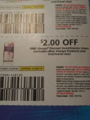 10 Coupons $2/1 ALways Discreet Incontinence Liners Exp.10/26/19