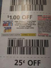10 Coupons $1/1 Charmin Toilet Paper Product 4 Mega Rolls+ (Includes Mega Plus & Super Mega) (Excludes Single Rolls) Exp.10/12/19