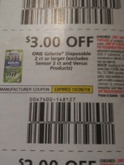 10 COupons $3/1 Gillette Disposable 2ct+ (Excludes Sensor 2ct and Venus Products) Exp.10/26/19