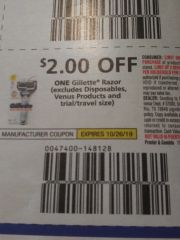 10 Coupons $2/1 Gillette Razor (Excludes Disposables and Venus Products) Exp.10/26/19