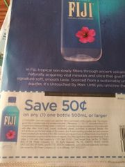 10 Coupons $.50/1 Fiji Bottle 500mL+ Exp. 11/29/19