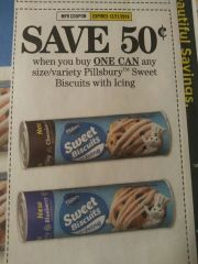 10 Coupons $.50/1 Pillsbury Sweet Biscuits w/ Icing Exp.12/21/19