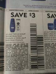 10 Coupons $3/2 Nivea Women Body Wash Or Nivea Men Body Wash Products Exp.10/12/19