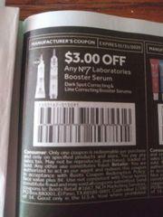 10 Coupons $3/1 No7 Laboratories Booster Serum Dark Spot Correcting & Line Correcting Booster Serums Exp.1/31/20