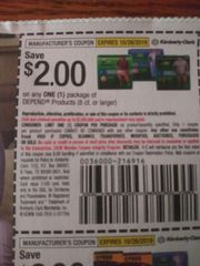 10 Coupons $2/1 Depend Products (8ct+) Exp.10/26/19