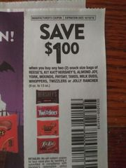 10 Coupons $1/2 Reese's, Kit Kat, Hershey's, Almond Joy, York, Mounds, Payday, Take5, Milk Duds, Whoppers, Twizzlers or Jolly Rancher (9oz-13oz) Exp.10/19/19