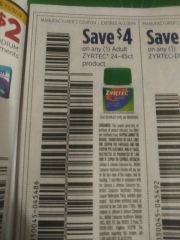 10 Coupons $4/1 Zyrtec 24-45ct Product Exp.11/2/19