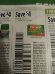 10 Coupons $4/1 Zyrtec-D Product Exp.11/2/19