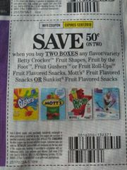 10 Coupons $.50/2 Betty Crocker Fruit Snacks (SEE PIC) Exp.12/7/19