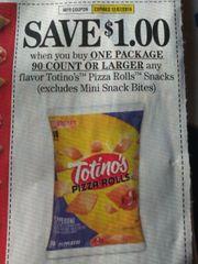 10 Coupons $1/1 Totino's Pizza Rolls Snacks (Excludes Mini Snack Bites) 90ct+ Exp.12/7/19