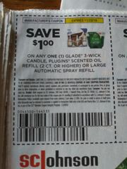 10 Coupons $1/1 Glade 3-Wick Candle, Plugns Scented Oil Refill (2ct+) Or Large Automatic Spray Refill Exp.11/23/19