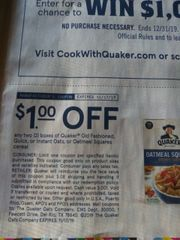 10 Coupons $1/2 Quaker Old Fashioned, Quick or instant Oats, Or Oatmeal Squares Cereal Exp.11/17/19