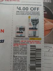 10 Coupons $4/1 Gillette Razor or Blade Refill 4ct+ (Excludes Disposables, Venus Products and ets) Exp.11/16/19