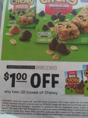 10 Coupons $1/2 Quaker chewy Boxes Exp.11/30/19