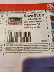 10 Coupons $1/12 Fancy Feast Medleys Wet Cat Food 3oz Cans Exp.12/27/19