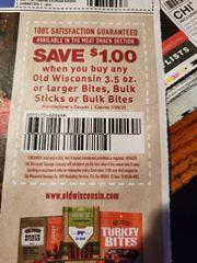 10 Coupons $1/1 Old Wisconsin 3.5oz+ Bites, Bulk Sticks or Bulk Bites Exp.1/30/20