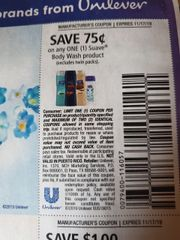 10 Coupons $.75/1 Suave Body Wash Product (Excludes twin Packs) Exp.11/17/19