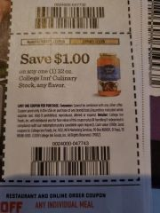 10 Coupons $1/1 College Inn Culinary Stock 32oz Exp.1/3/20