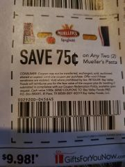 10 Coupons $.75/2 Mueller's Pasta Exp.12/18/19