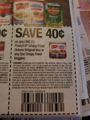 10 Coupons $.40/1 French's Crispy Fried Onions Original 6oz or any 5oz Crispy Fried Veggies Exp.1/1/20