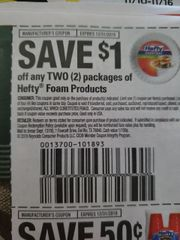10 Coupons $1/2 Hefty Foam Products Exp.12/31/19