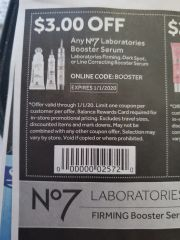 10 Coupons $3/1 No7 Laboratories Booster Serum Exp.1/1/20
