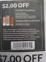 10 Coupons $2/1 No7 Foundation Exp.1/1/20