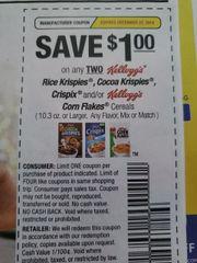 10 Coupons $1/2 Kellogg's Rice Krispies, Cocoa Krispies Crispix and/or Kellogg's Corn Flakes Cereals (10.3oz+) Exp.12/22/19