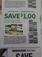 10 Coupons $1/1 Truvia Stevia Sweetener Exp.1/4/20