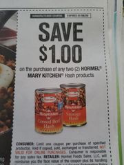 10 Coupons $1/2 Hormel Mary Kitchen Hash Products Exp.1/6/20