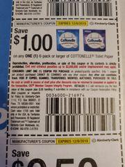 10 Coupons $1/1 Cottonelle Toilet Paper 6pk+ Exp.12/8/19