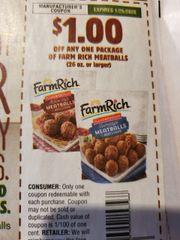 10 Coupons $1/1 Farm Rich Meatballs (26oz+) Exp.1/25/20