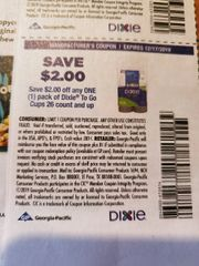 10 Coupons $2/1 Dixie To Go Cups 26ct+ Exp.12/17/19